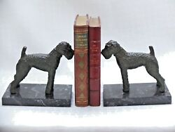 PAIR OF AIREDALE  SCHNAUZER  FOX TERRIER HUNTING DOG BOOK ENDS.