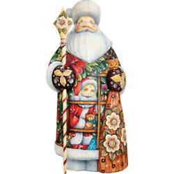 G. Debrekht | Give A Gift Santa Figurine ✪new✪ 215823 Wood Rare Holiday Carving