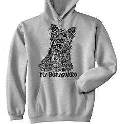 YORKSHIRE TERRIER  MY BODYGUARD P - NEW COTTON GREY HOODIE