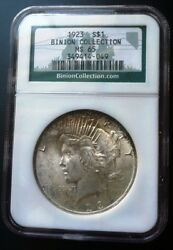 1923 Silver Peace Dollar Binion Collection Hoard Ngc Ms 65 Light Toning Us Coin