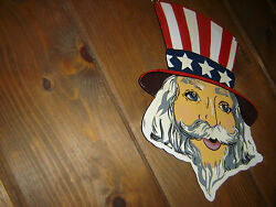 Vintg Tin Uncle Sam Sign Hand Painted Metalmade In India Inside/outside 13x9.5