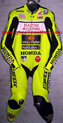 HONDA NASTRO MEN MOTORBIKE LEATHER RACING SUIT BLACK & FLORESCENT WITH ALL SIZES