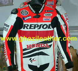 MEN HONDA REPSOL MOTORBIKE LEATHER RACING SUIT RED & WHITE ALL SIZES AVAILABLE