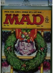 Mad 44 Cgc 9.6 X-mas Cover 1959 Alfred E. Neuman Gets Gift Only 1 Higher Blue