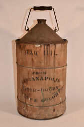 Large Antique Wood Cone Top Raw Oil Can Indianapolis Paint Color Co Good Goods