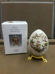 Goebel, 2019 Annual Egg, 42nd Edition, Motif-bunny In Wreath, Mint And Boxed