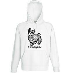 Yorkshire terrier my bodyguard b - NEW COTTON WHITE HOODIE