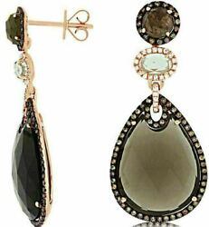 Large White And Chocolate Fancy Diamond And Smoky Topaz 14kt Rose Gold 3d Earrings