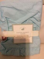 Pottery Barn Small Easter Basket Liner Blue Dot With Beaded Chick Nwt