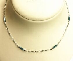 Faberge 18k White Gold Blue Enamel Section Necklace/chain. Limited Ed. 20 Off