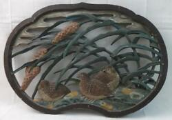 Antique Carved Wood Plaque Birds Nested In Wind Blown Grass Polychrome Paint