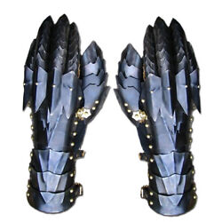 Pair King Gauntlets Gloves Medieval Knight Black Steel Armor Larp Faire Gothic