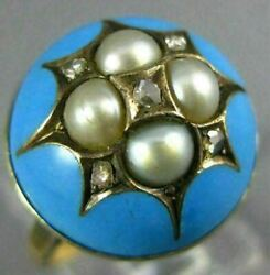 Antique Wide Rose Cut Diamond Pearl And Blue Enamel 14k Yellow Gold Star Dome Ring