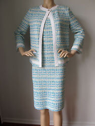 New St John Knit 4 Dress And Jacket Suit Tweed Br White Blue Turquoise Yellow