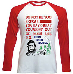 HENRY THOREAU MORAL QUOTE - NEW RED LONG SLEEVES COTTON TSHIRT $20.86