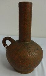 Antique Redware Pottery Handled Vase Stamped Speese And Son Gettysburg Pa.