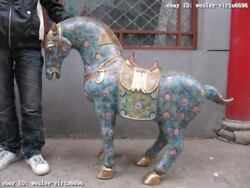 39INCH Chinese Regius Palace 100% Pure Bronze cloisonne Lucky Tang Horse Statue