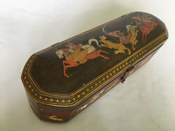 001 An Antique Or Vintage Or Old Look Hand Carved Painted Wooden Pencil Box