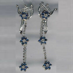 18k Gold Floral Dangle Earrings 4.02ct Sapphire Pave Diamond Silver Jewelry