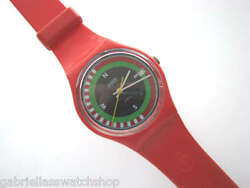 Compass Collectible Red Gents Swatch W Date And Fachhandellogo Band Euc-rare