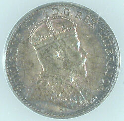 1909 Canada 5 Cents Pointed Maple Leafs Ms-62 Anacs Certiified