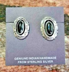 Navajo Black Onyx Beveled Silver Post Earrings Native American Collectible Usa