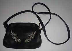 Gallantry Black Faux Leather Cross Body Purse Pouch NWT Silver Beaded Wings