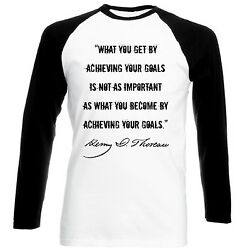 HENRY DAVID THOREAU - NEW COTTON BLACK SLEEVED BASEBALL TSHIRT