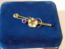 Antique Victorian Hcands Amethyst Seed Pearl 9 Ct Gold Brooch Safety Pin 5c 51