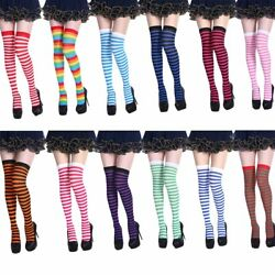 Striped Stripe Women Compression Stocking Thigh High Over the Knee Socks Cosplay $9.95