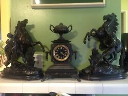 Antique French Urn Style Wind Up Clock 3 Pcs With Marley Horse Pewter Figural