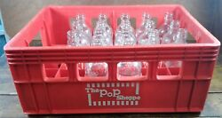18 Piece Set Glass Soda Bottles Plastic Soft Drink Red Crate The Pop Shoppe