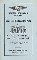 James Motorcycle Drivers Handbook And List Of Spare Parts - Antique Reproduction
