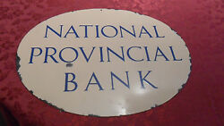 Rare National Provincial Bank Heavy Porcelain Sign Hard To Find Beauty