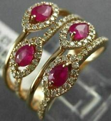 Estate Large 1.09ct Diamond And Aaa Ruby 14kt Rose Gold Multi Row Anniversary Ring