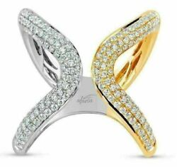 Estate Wide .70ct Diamond 18k White And Yellow Gold 3d V Shape Butterfly Love Ring