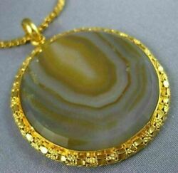 Antique Extra Large And Long Aaa Brazilian Agate 22kt Yellow Gold Necklace 26528