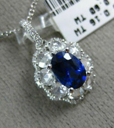 Estate Large 1.64ct Old Mine Diamond And Aaa Sapphire 18kt White Gold Oval Pendant