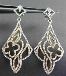 Antique Large 1.10ct Diamond 14kt White And Rose Gold Chandelier Hanging Earrings