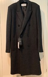 Saint Laurent Coat Cashmere Double Breasted In Grey L