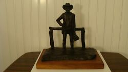 Rare Vintage 1975 Bronze Frontier Doctor Sculpture By Joy Henson Signed Numbered