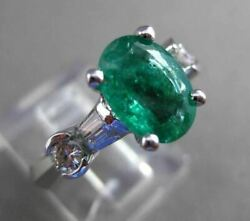 Estate Large 2.31ct Diamond And Aaa Emerald 14kt White Gold Engagement Ring 23862