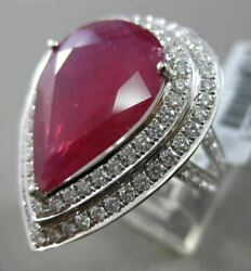 Estate Massive 11.48ct Diamond And Ruby 18k White Gold Pear Shape Double Halo Ring