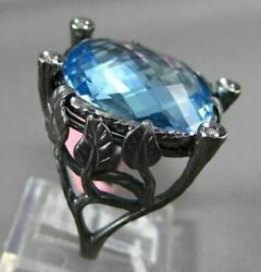 Antique Large Diamond And Aaa Blue Topaz 14kt Black Gold Etoile Leaf Square Ring