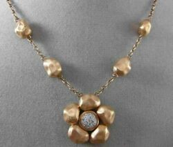 Estate .16ct Diamond 14k White And Rose Gold Handcrafted 3d Flower Hammer Necklace