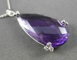 Antique Large 12.55ct Diamond And Aaa Amethyst 14kt White Gold Drop Pendant