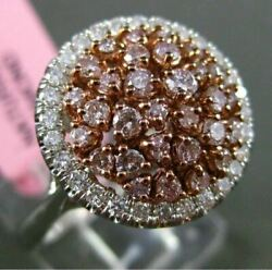 Estate Large 1.01ct White And Pink Diamond 18kt White And Rose Gold Round Halo Ring