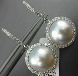 Estate Large .62ct Diamond And Aaa Pearl 18kt White Gold 3d Halo Hanging Earrings