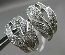 Estate 1.50ct Round And Baguette Diamond 14kt White Gold 3d Leaf Clip On Earrings