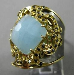 Antique 5.40ct Sapphire And Blue Agate 18kt Black And Yellow Gold 3d Filigree Ring